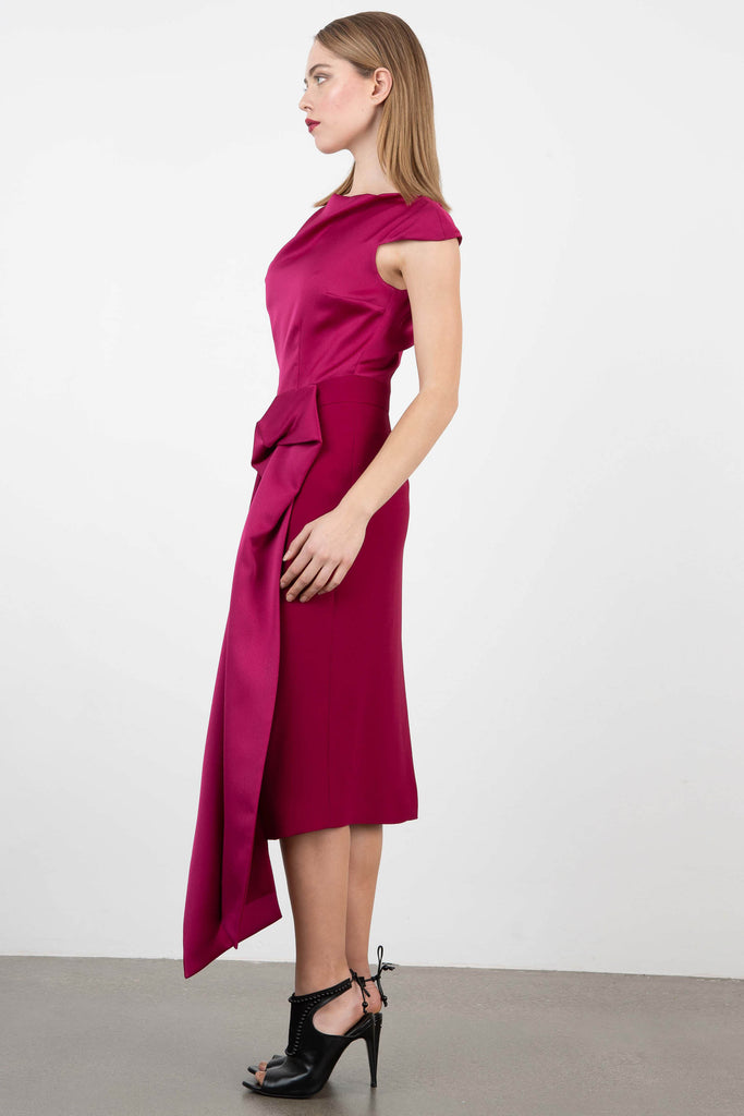 Dilek Hanif Fuscia Cap Sleeve Midi Dress