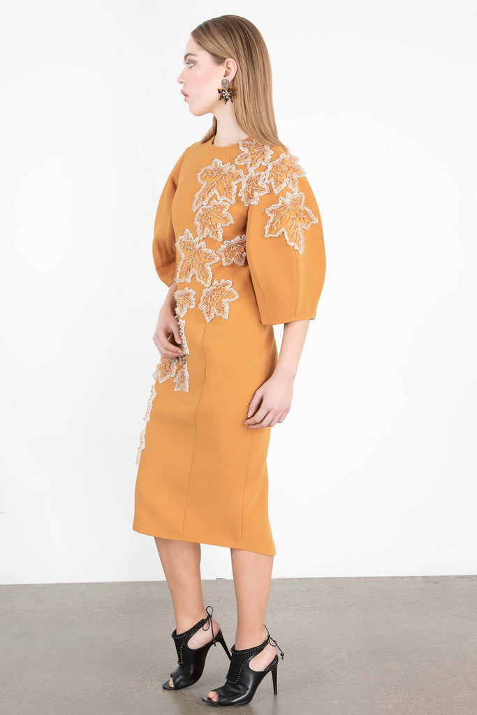 Nihan Peker Embellished Leaf Midi Dress