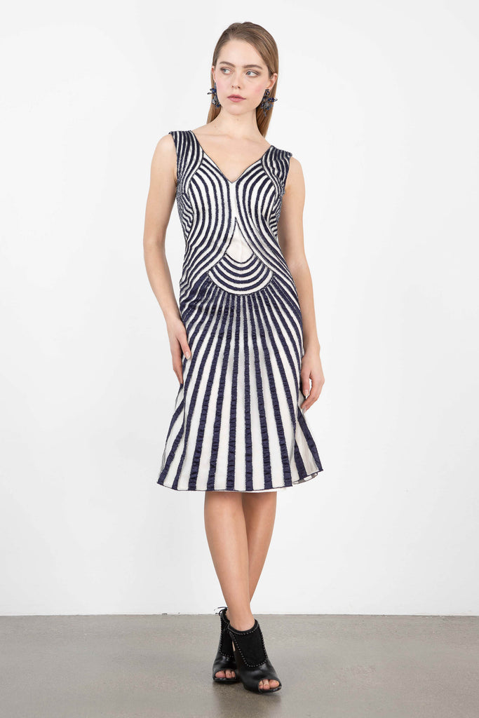 OWL by LMC Beaded Striped Cocktail Dress