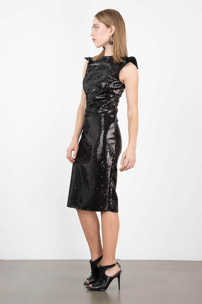 Exquise Fitted Sequin Cap Sleeve Dress