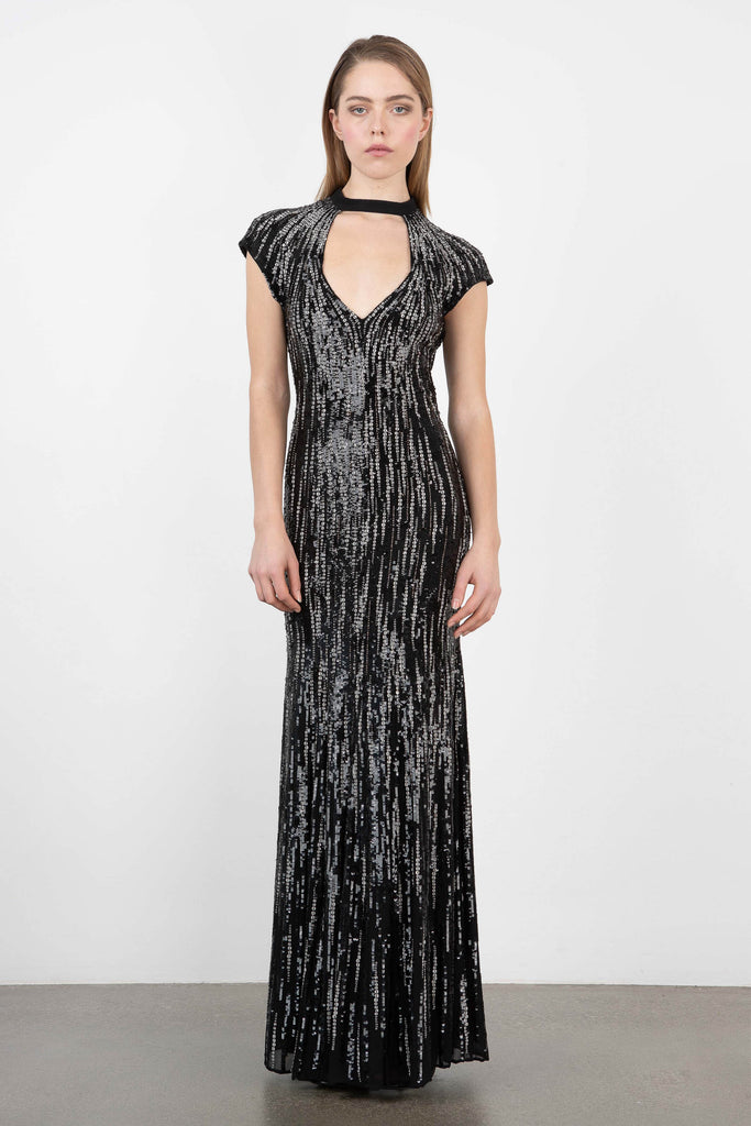 Owl by LMC Midnight Rain Sequin Gown