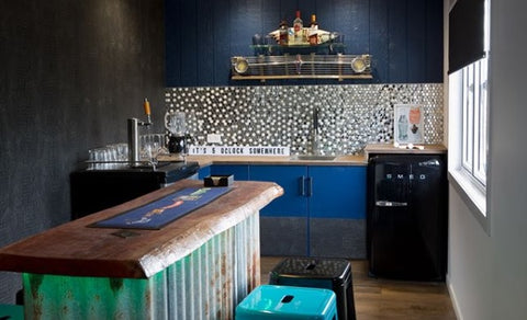 Adding Faux Leathers & skin to wallpaper the Bar