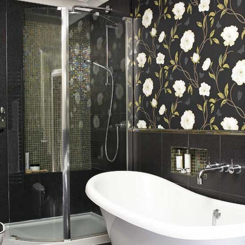 Dark White Floral Wallpaper in bathroom