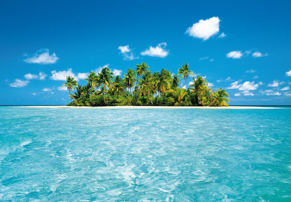 Maldives tropical island beach scene wall mural for Beach scene mural wallpaper