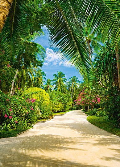 Tropical Pathway Palm Trees Wallpaper Mural