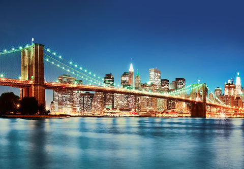New York East River Blue Tone Wall Mural