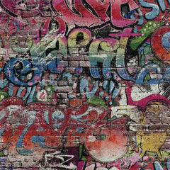 Graffiti Motif Brick Wallpaper