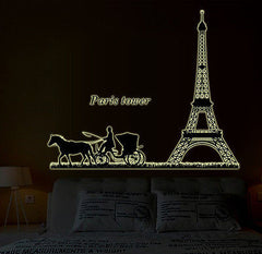 Paris Effiel Tower Quote Glow in Dark Removeable Wall Sticker Decal