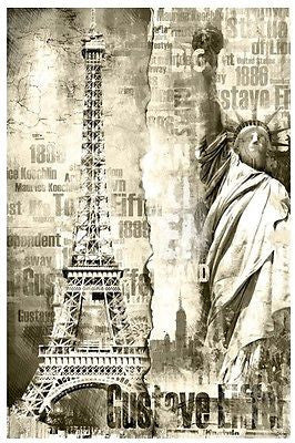 Cities Eiffel Tower Statue of Liberty Door or Wall Wallpaper Mural