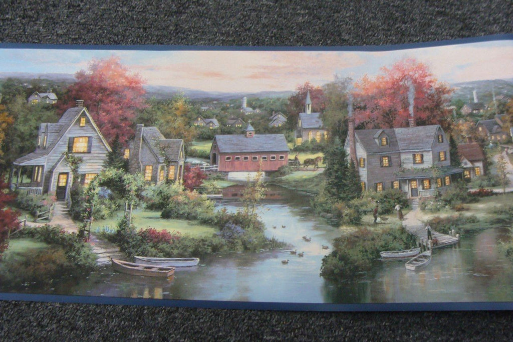 Wallpaper Border Village by the River houses horses fishing Blue