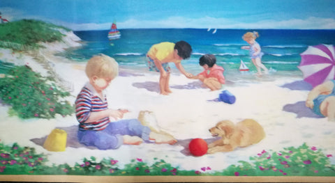 Childrens Beach Holiday Kids Playing in Sand Wallpaper Border