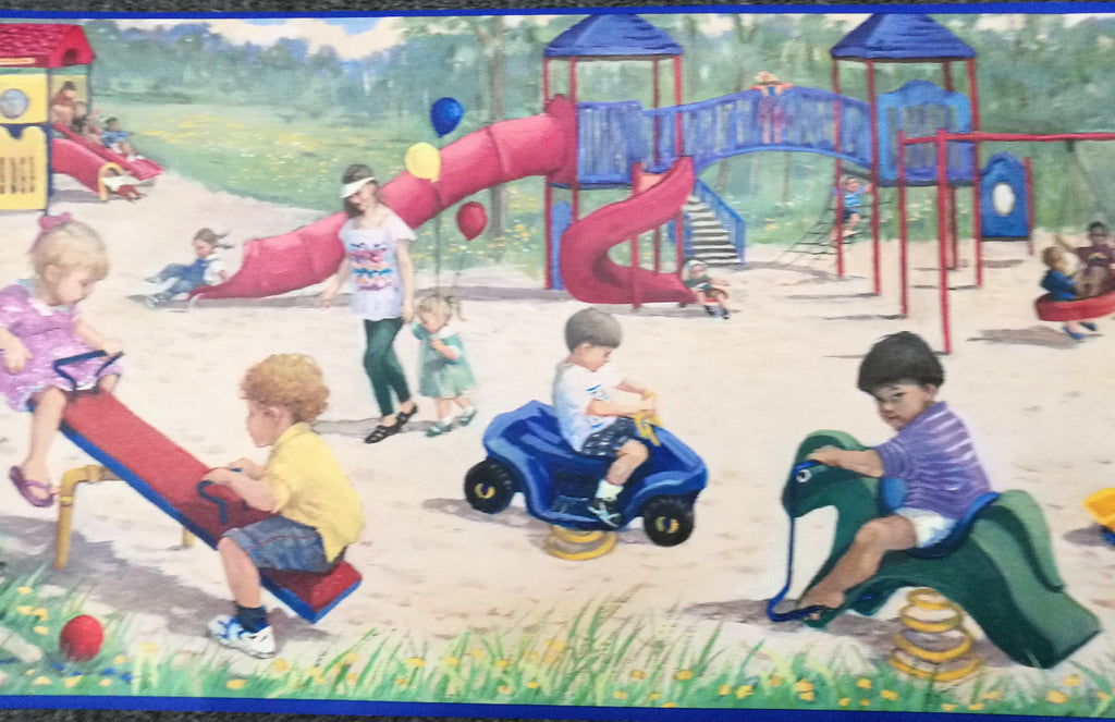 Boys & Girls Playing in the Park Wallpaper Border