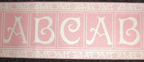Baby Girls Nursery Pink & White Alphabet ABC blocks