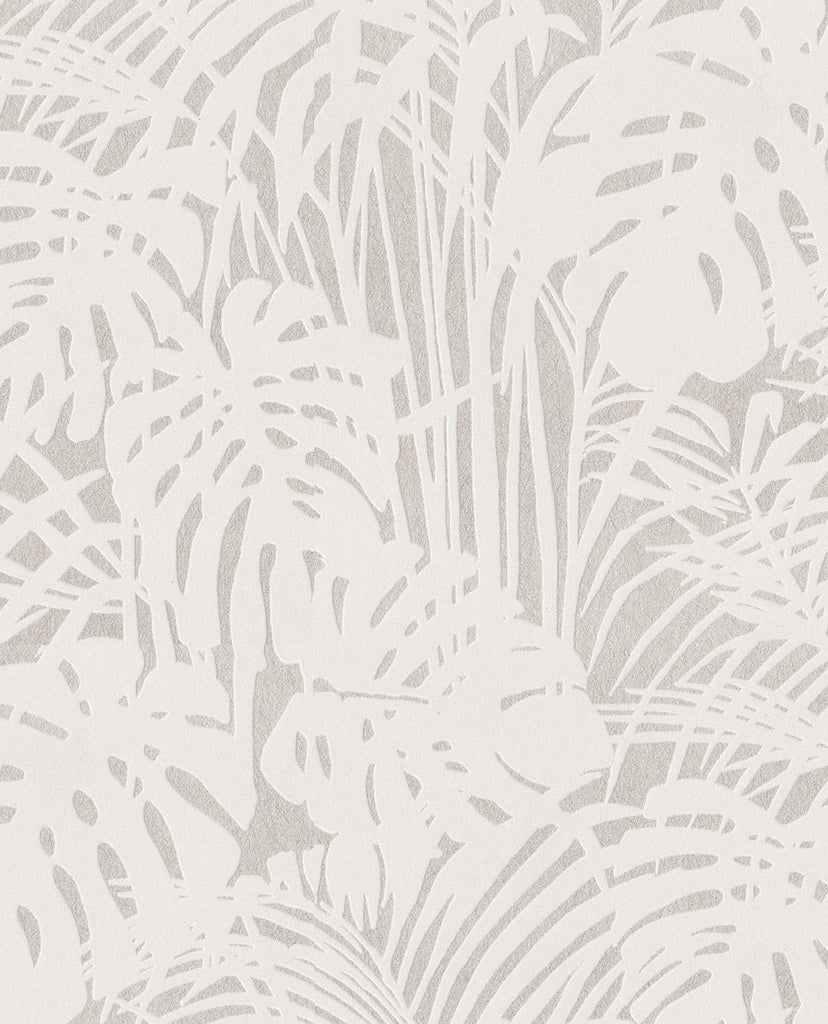 Luxurious Flocked Velour Tropical Palm Metallic Wallpaper