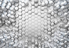 3D Titanium Hexagon Wall Mural