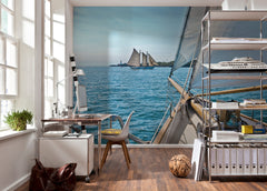 Sailing on the Sea Wall Mural