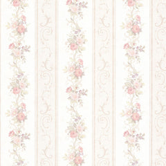 Lorelai Vintage Rose Embossed Satin Floral Stripe