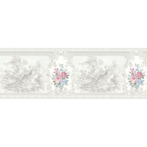 Avairy Vintage Rose Floral Birds Silk Border