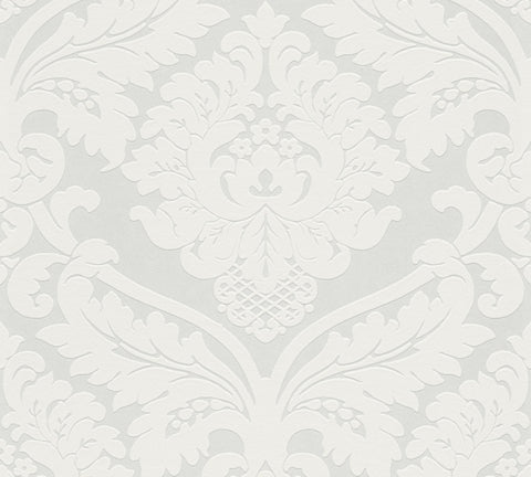 Flock White on White Large Damask