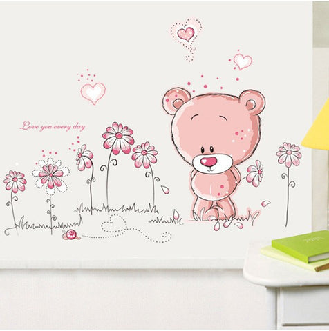 Pink Teddy Bear Wall Sticker