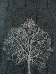 Black with Silver Trees Branches Wallpaper