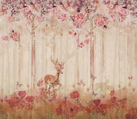Deer in Floral Forest Mural
