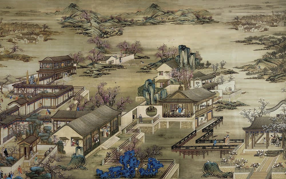 Asian scene temples people oriental wallpaper mural wall for Asian mural wallpaper