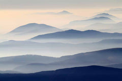 Blue Misty Hills Mountains Mural