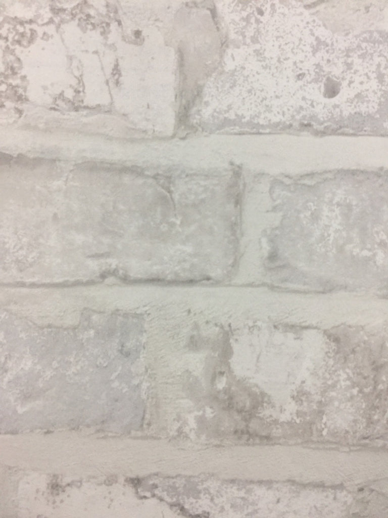Rustic Aged White Textured Brick Wallpaper