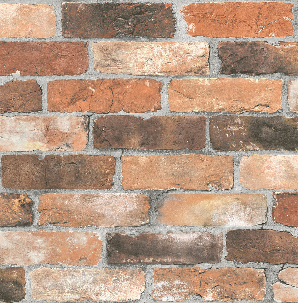 Faded Red Orange Bricks Wallpaper