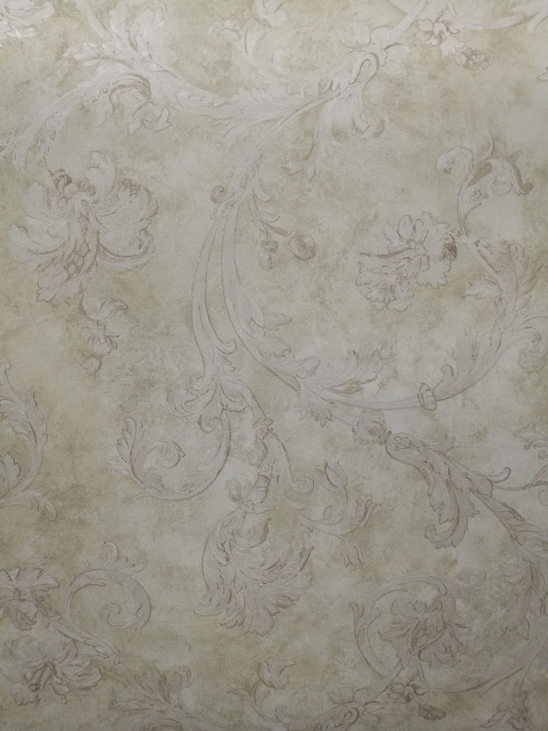 Neutral Filigree Traditional Classic Swirls Prepasted Wallpaper