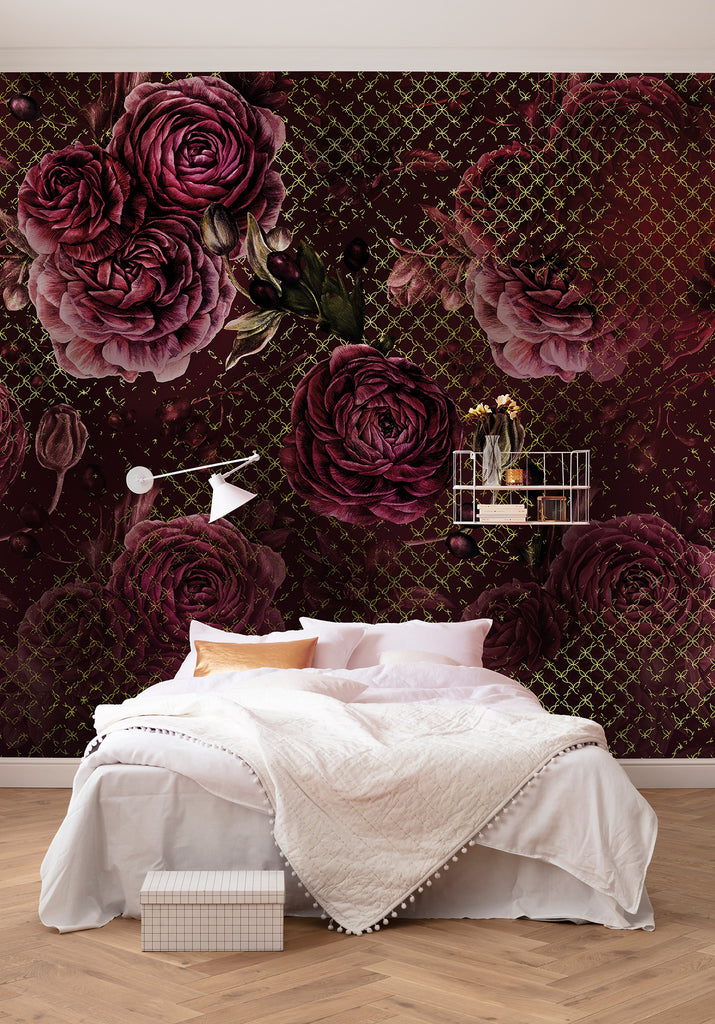Rouge Intense Floral Wall Mural