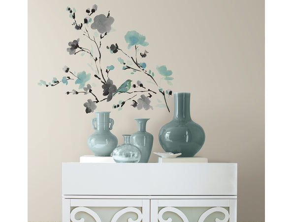 Teal Floral Birds Wall Sticker