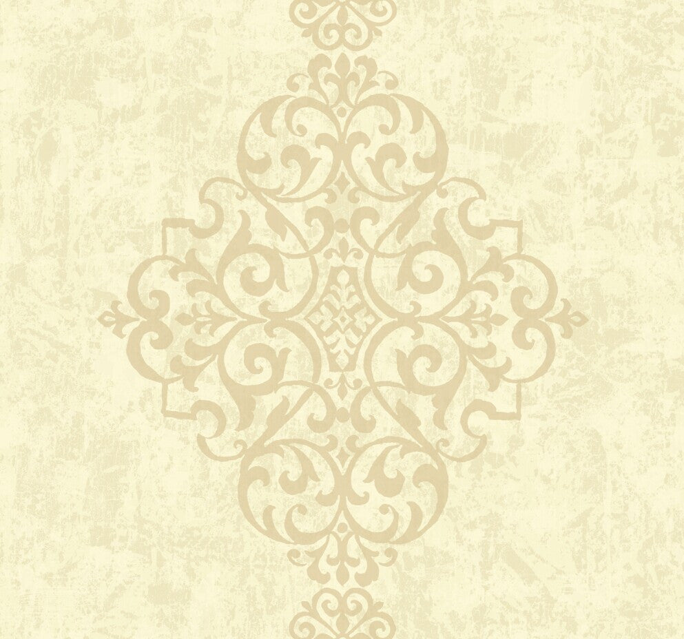 Simply Large Distressed Damask Wallpaper