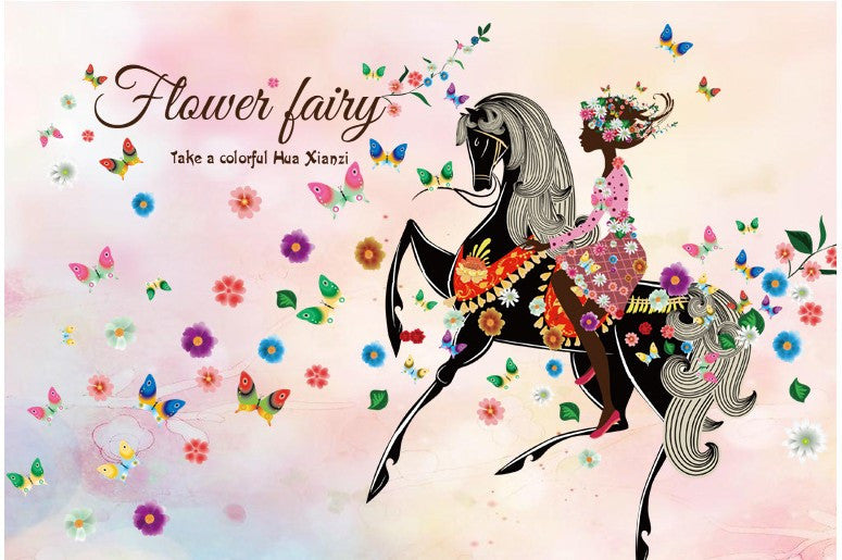 Flower Fairy and Horse Wall Sticker