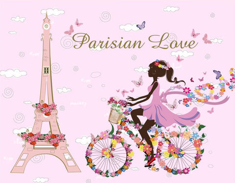 Parisian Love Floral Girl on Bike
