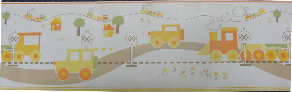 Retro Nursery Trains n Trucks Border