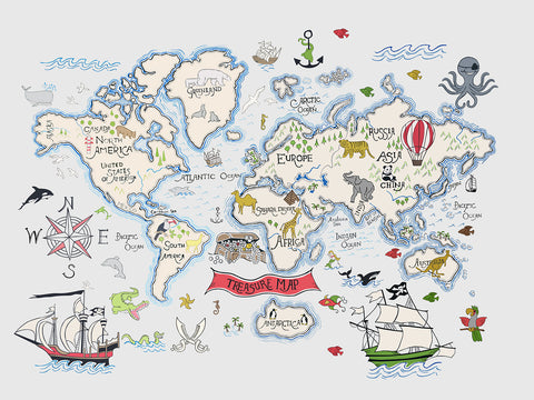 Great Discovery World Map Mural