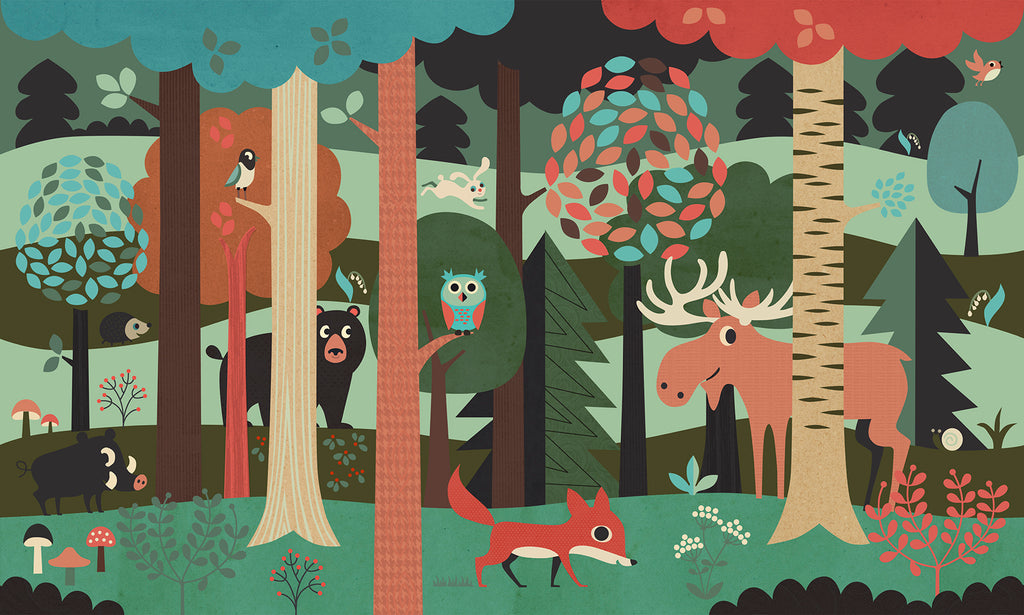 Woodland Animals Forest Mural