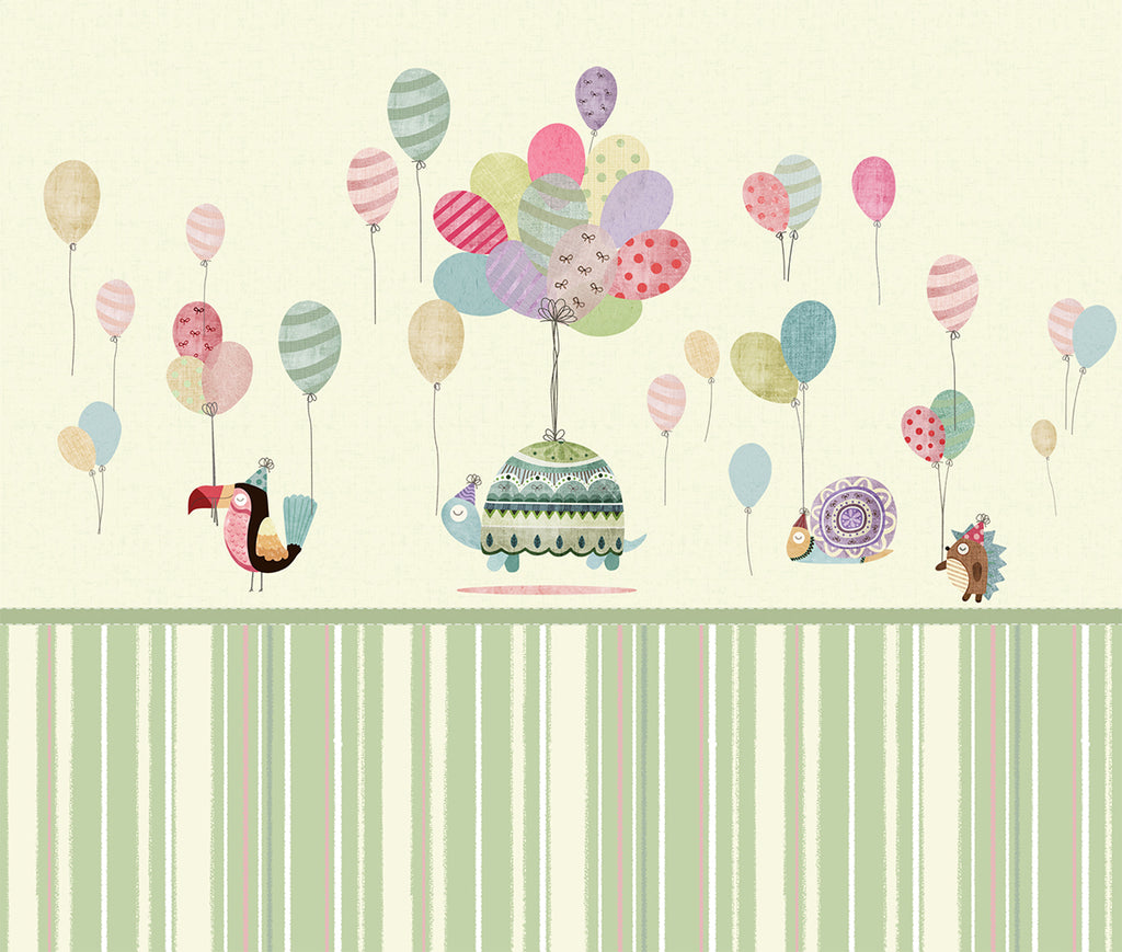 Multi Coloured Balloons and Animals Mural