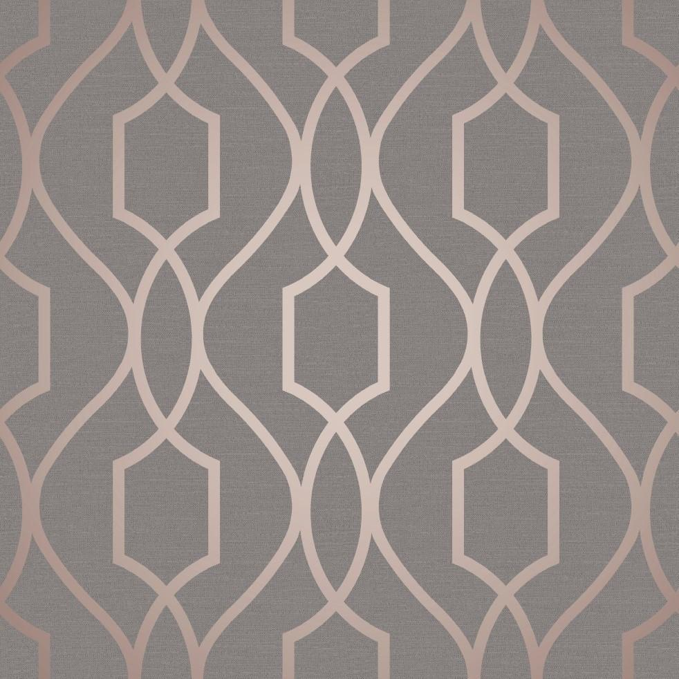 Grey Rose Gold Trellis