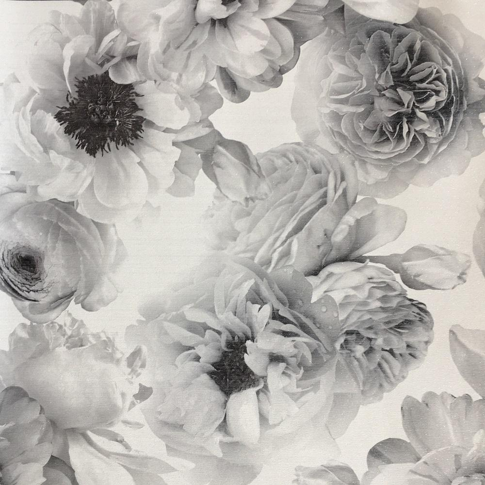 Monochrome Black White Silver Large Floral Wallpaper Brokers