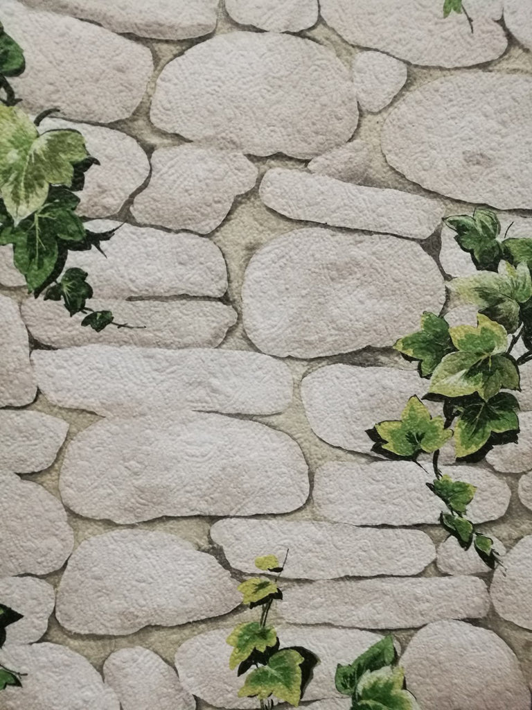 Stone With Ivy Wall Look Wallpaper Washable And Give The