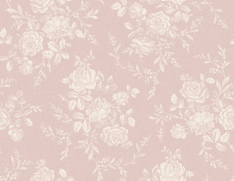 Flora Muted Large Cottage Flowers Vintage Rose