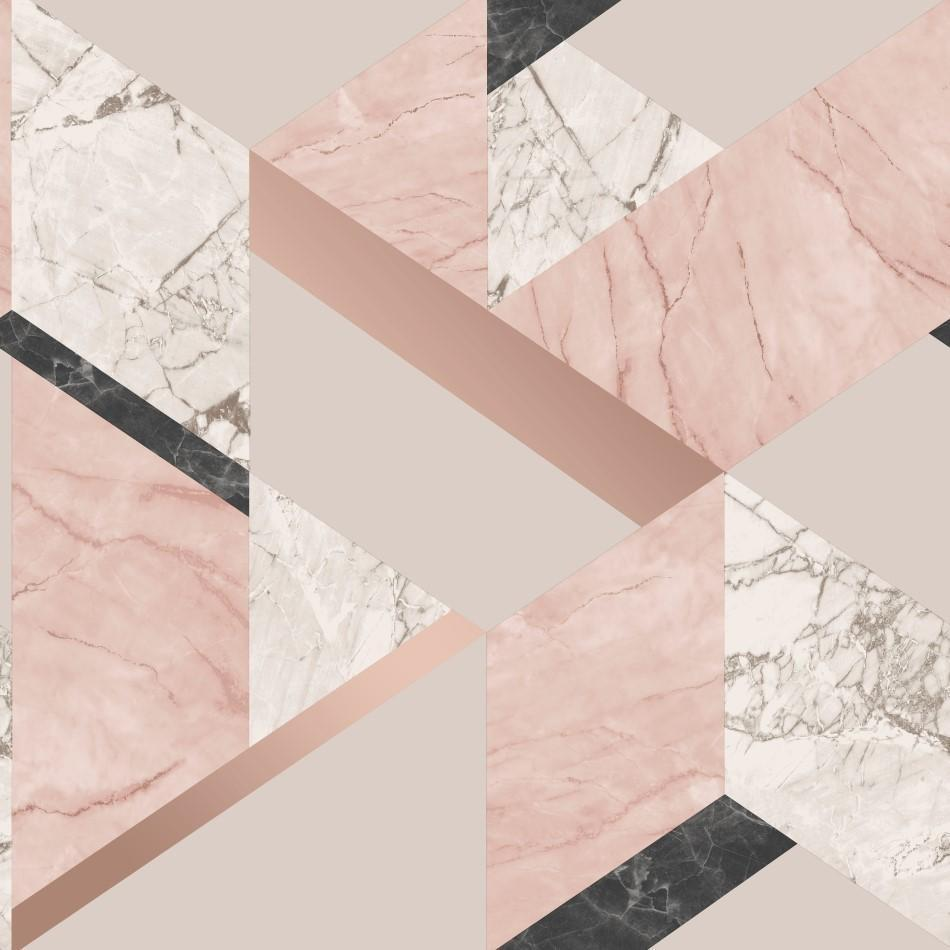 Pink Rose Gold Marble Geometric