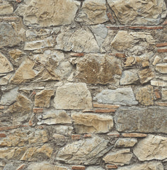 3D Rough Stacked Rock Wall Wallpaper