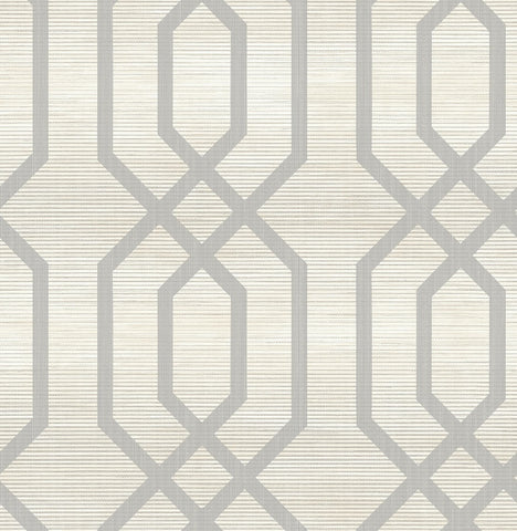 Grass Effects Faux Grasscloth Geometric Lattice Print