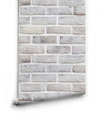 Lime Washed Brick Wallpaper