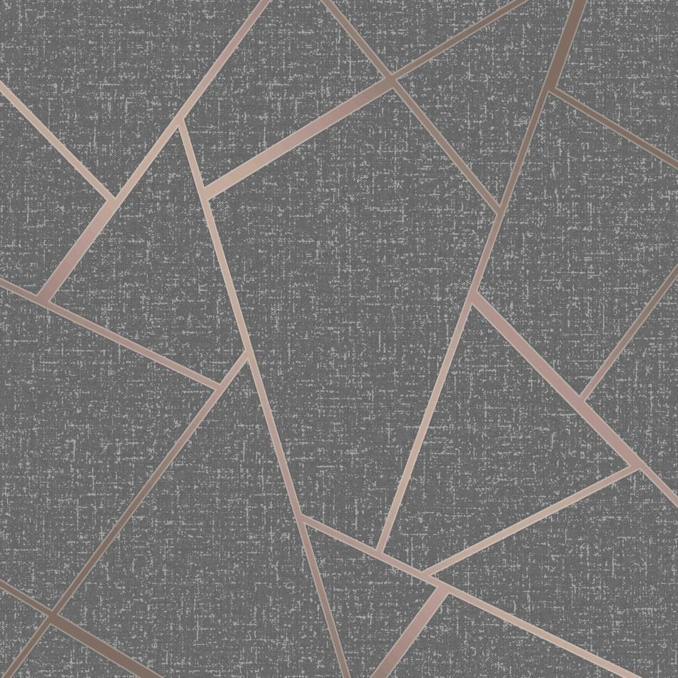 Rose Gold Charcoal Geometric Wallpaper Brokers Melbourne Stock Store