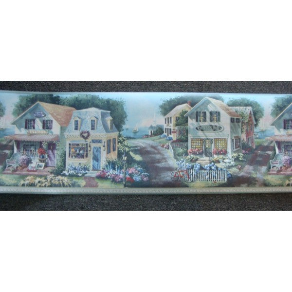 Seaside Village Wallpaper Border Blue